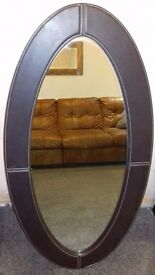 Large foux leather mirror