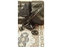 Mothercare spin black pushchair / pram with footmuff rain cover quilted liner RRP £429