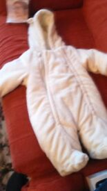x2 Baby girls Warm all in ones 0-3 months - £8 for both -x1 white and x1 pink