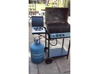 Butane Gas Barbeque with coals 2 x main Burners 1 x small Burner/cooker with 15kg full gas bottle.