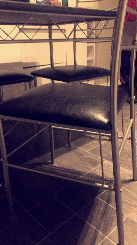 Dining Table & 4 Metal Chairs - Blackby