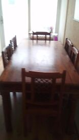 Handmade indian sheesham wood dining table and chairs