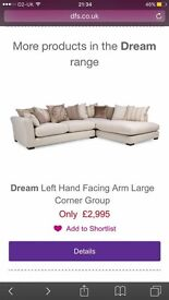 REDUCED!!!! Brand new DFS corner sofa with chair and stool