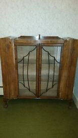 Stunning vintage art deco glass display cabinet in lovely wood in excellent condition with key £85