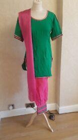 Green and pink Asian panjabi wedding party prom dress