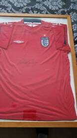 Framed and signed by Wayne Rooney England shirt