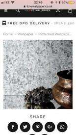Wallpaper - silver glitter sequin