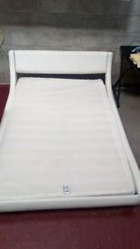 White Faux Leather Double Bed Frame (No Mattress)