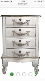 Pair bedside table Toulouse silver