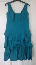 Monsoon prom / wedding / evening dress, size 12 , teal colour, waterfall type style