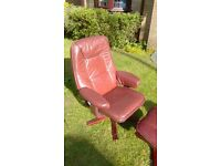 Faux leather recliner armchair and stool, excellent condition