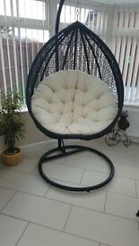 LARGE RATTAN SWINGING CHAIR FROM METAL FRAME, HEAVY DUTY SPRING, LARGE CUSHION