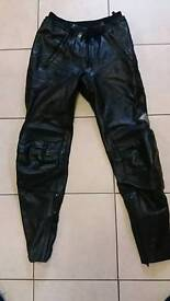 Bikers leather trousers.
