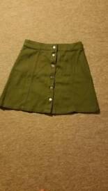 New H&M olive khaki green denim skirt size 10