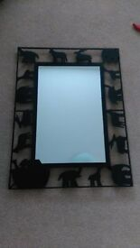 Lovely worught iron animal mirror (black) - Excellent condition