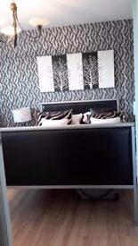 Double bed & matching side tables, grey metal & black leather