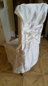 2 Ivory Silk Chair Covers