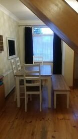 DINING TABLE GOOD CONDITION BENCH AND CHAIRS