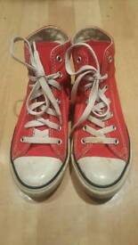 Red converse high top pumps / shoes