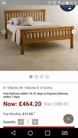 Oak double bed with matterass