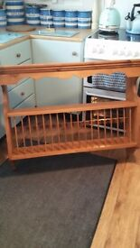 Large pitch pine plate rack