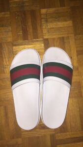 White Gucci Slides With Receipt