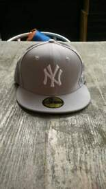 brand new grey/white new york new era cap