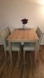 Dining Table & 4 cream leather chairs