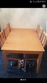 Table with 6 high back chairs