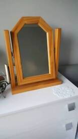 Small make up wooden mirror