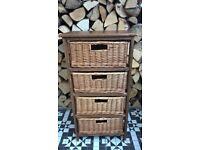 4 drawer draw chest of drawers basket storage