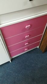 New Pink/White Love Heart Drawers and Matching Bedside