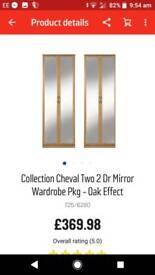 2 x 2 door mirrored wardrobes in oak, bedroom furniture argos