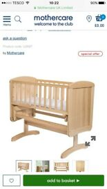 Mothercare deluxe gliding crib and foam mattress