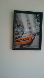 BLACK FRAMED NEW YORK TAXI -CAR - 3D MOVING PICTURE 300mm X 400mm