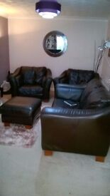 Classic 4 piece genuine leather suite, chocolate brown, excellent condition ex DFS