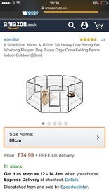 8 metal panel 80cm puppy/pet enclosure