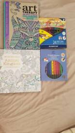 Colouring books, felt pens & pencils