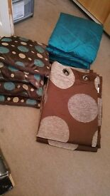 Gorgeous Brown & Teal curtains 66 x90 and cushions