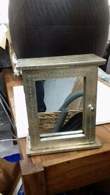KEY BOX with hooks inside and mirror on outside - £20 takes it!