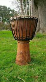 Full size Djembe Drum (13 inches top) wooden, plus bag