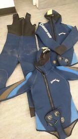 Assorted 2 piece 7mm SCUBA diving wetsuits