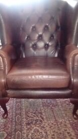 Leather chair and footstool chesterfield