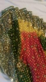 Pink, green and mustard saree