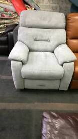Grey fabric electric reclining arm chair good condition