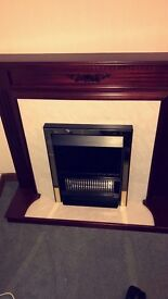 Mahogany and marble finish electric fire