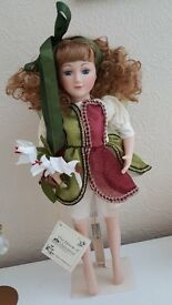 "THE HOUSE OF VALENTINA HEIRLOOM PORCELAIN DOLL "" CHRISTMAS FAIRY"" ON STAND"