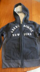 Abercrombie Kids Fleece Jacket in black and grey size 7/8 years