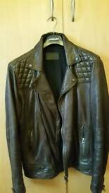 All Saints Conroy Leather Biker Jacket (Oxblood red, Small) - £115, very good condition