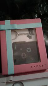 radley black coin purse and key ring gift set